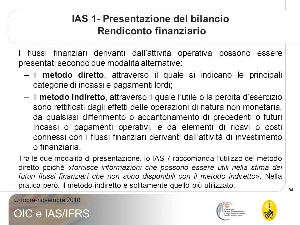 IAS 1- Presentazione del bilancio Rendiconto finanziario