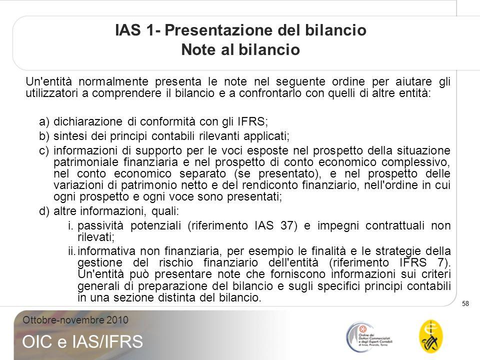 IAS 1- Presentazione del bilancio Note al bilancio