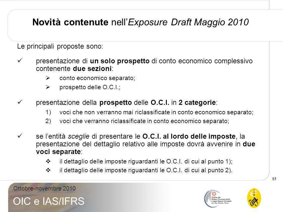 Novità contenute nell'Exposure Draft Maggio 2010