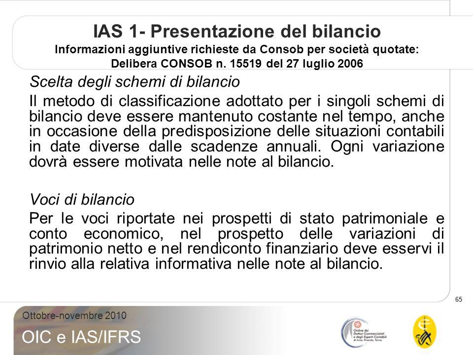 IAS 1- Presentazione del bilancio Informazioni aggiuntive richieste da Consob per società quotate: Delibera CONSOB n. 15519 del 27 luglio 2006