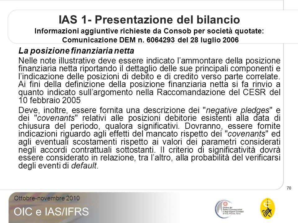 IAS 1- Presentazione del bilancio Informazioni aggiuntive richieste da Consob per società quotate: Comunicazione DEM n. 6064293 del 28 luglio 2006