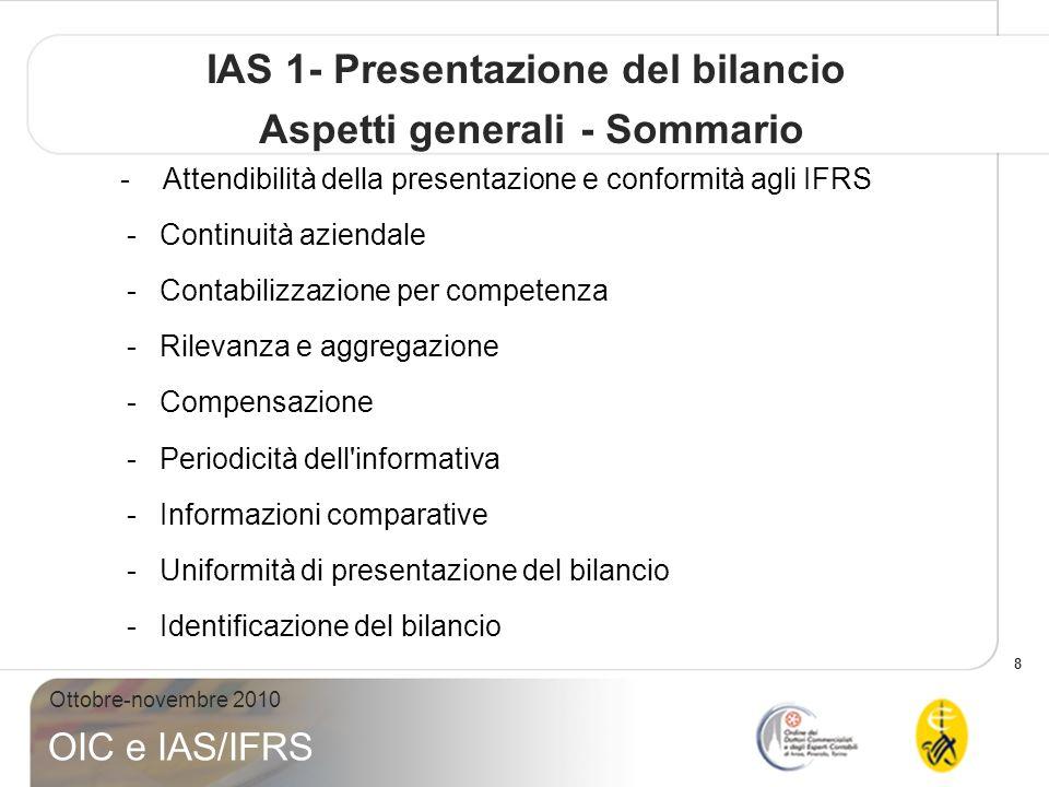 IAS 1- Presentazione del bilancio Aspetti generali - Sommario