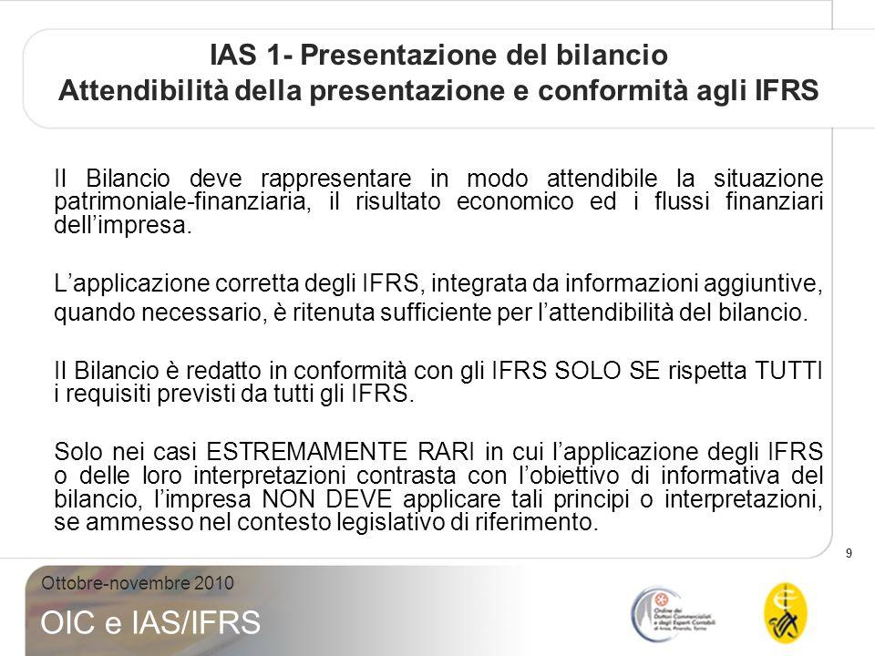 IAS 1- Presentazione del bilancio Attendibilità della presentazione e conformità agli IFRS