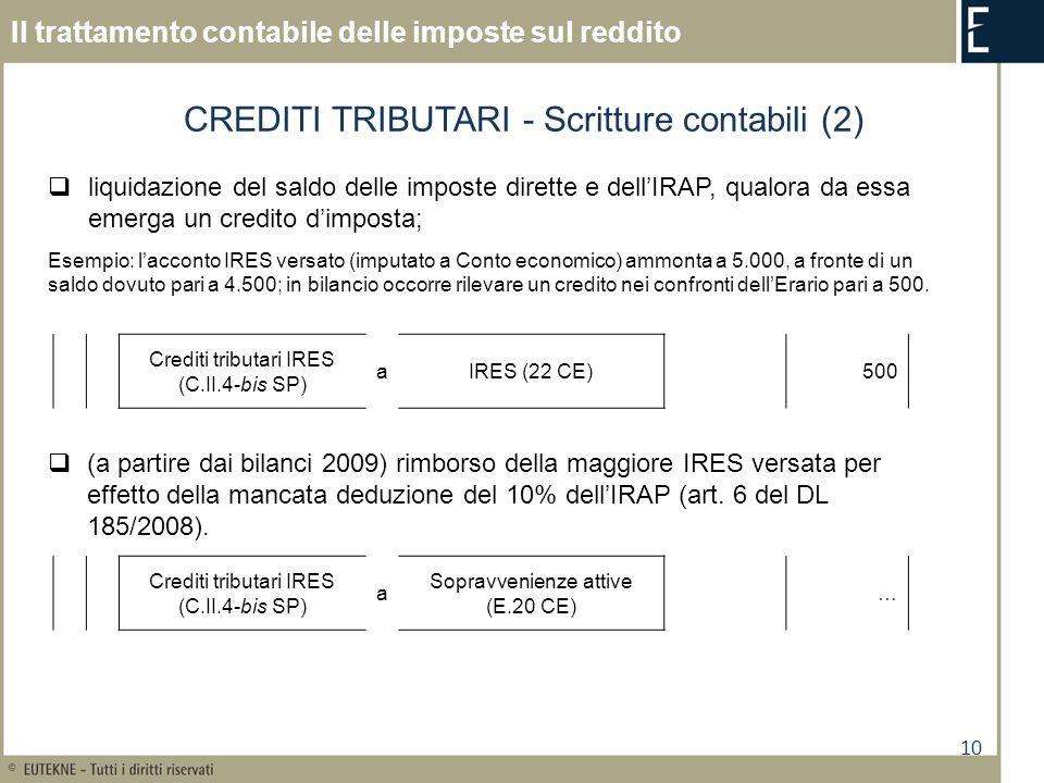 CREDITI TRIBUTARI - Scritture contabili (2)