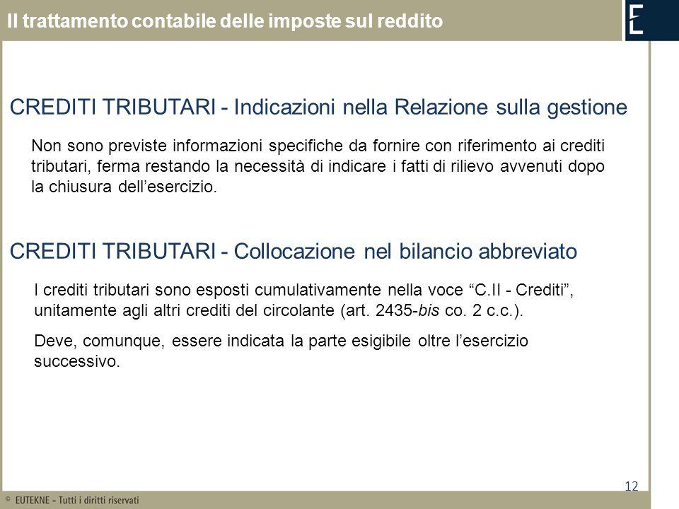 CREDITI TRIBUTARI - Indicazioni nella Relazione sulla gestione