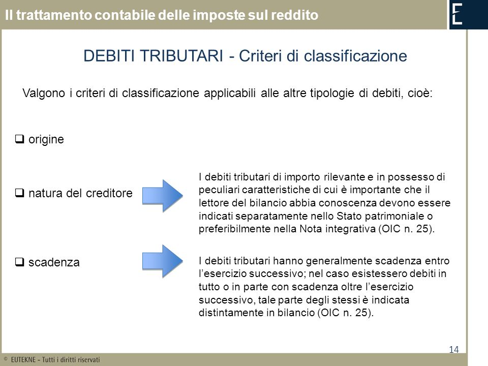 DEBITI TRIBUTARI - Criteri di classificazione