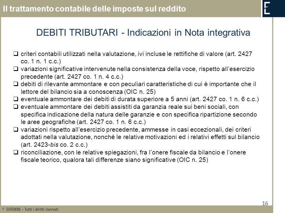 DEBITI TRIBUTARI - Indicazioni in Nota integrativa