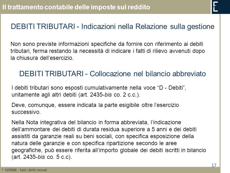 DEBITI TRIBUTARI - Indicazioni nella Relazione sulla gestione