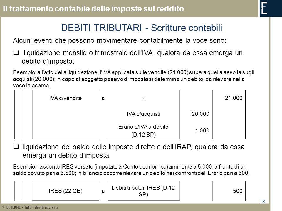 DEBITI TRIBUTARI - Scritture contabili