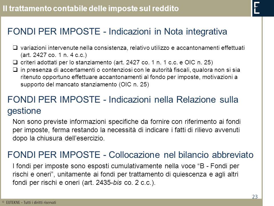FONDI PER IMPOSTE - Indicazioni in Nota integrativa