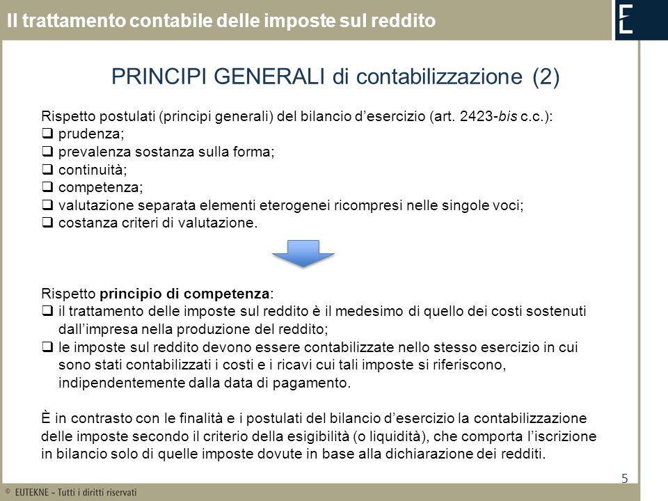 PRINCIPI GENERALI di contabilizzazione (2)