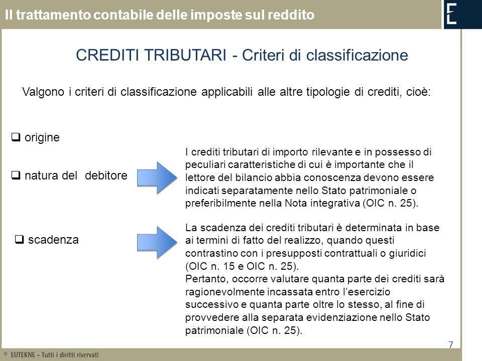 CREDITI TRIBUTARI - Criteri di classificazione