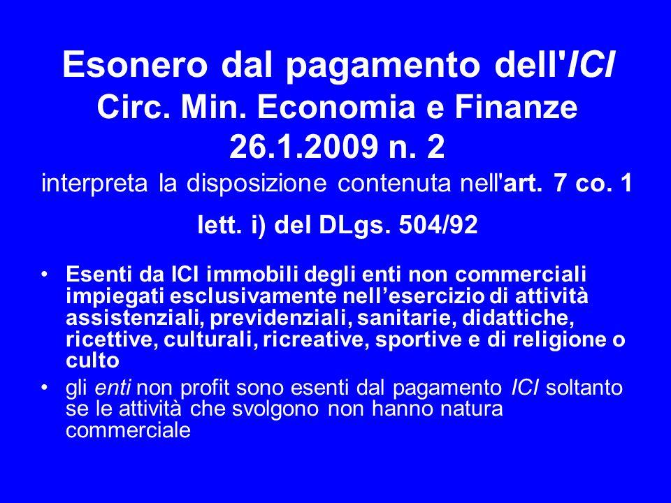 Esonero dal pagamento dell ICI Circ. Min. Economia e Finanze 26. 1