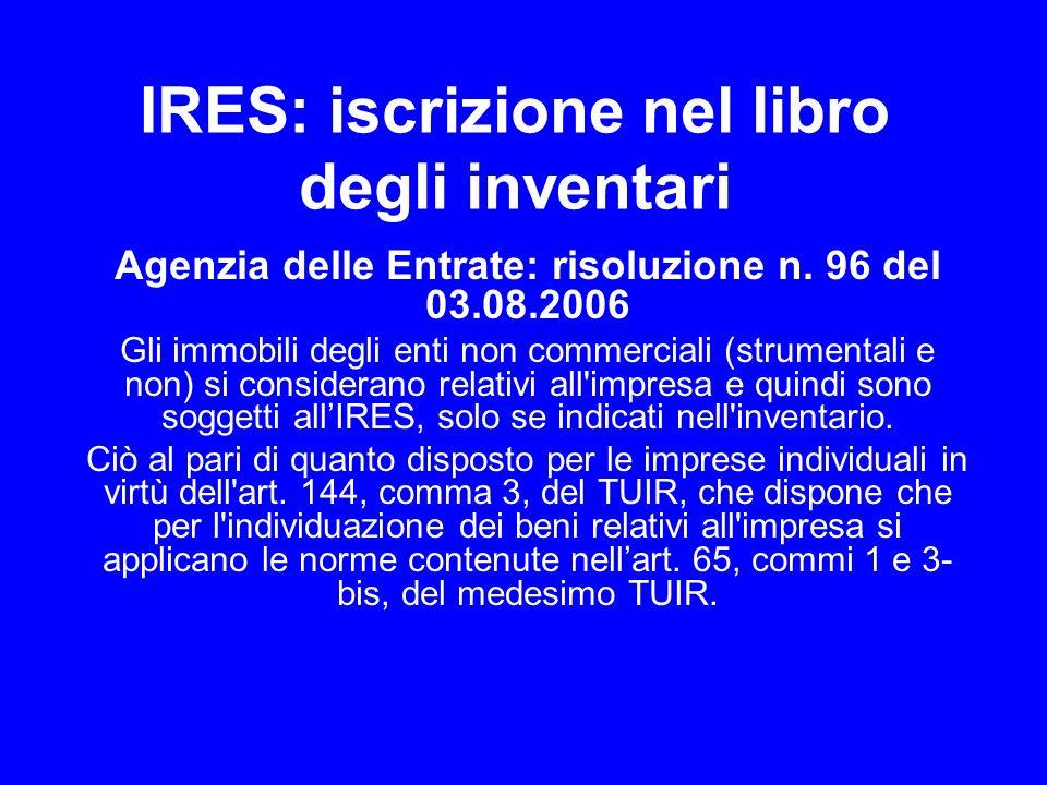 IRES: iscrizione nel libro degli inventari