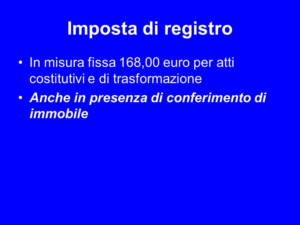 Imposta di registro In misura fissa 168,00 euro per atti costitutivi e di trasformazione.