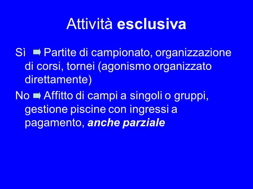 Attività esclusiva Sì Partite di campionato, organizzazione di corsi, tornei (agonismo organizzato direttamente)