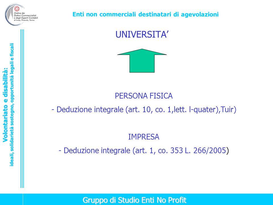 UNIVERSITA' PERSONA FISICA