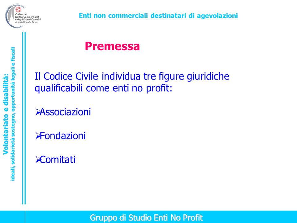 Premessa Il Codice Civile individua tre figure giuridiche qualificabili come enti no profit: Associazioni.