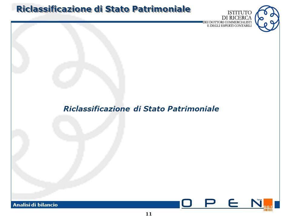 Riclassificazione di Stato Patrimoniale
