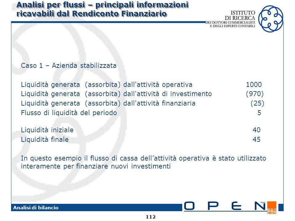 Analisi per flussi – principali informazioni ricavabili dal Rendiconto Finanziario