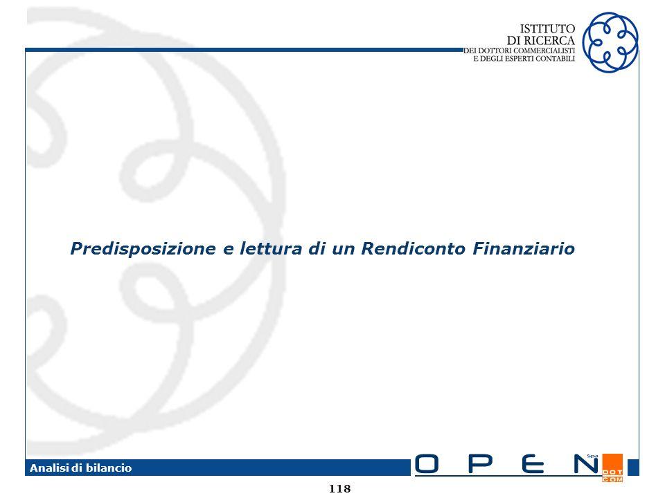 Predisposizione e lettura di un Rendiconto Finanziario