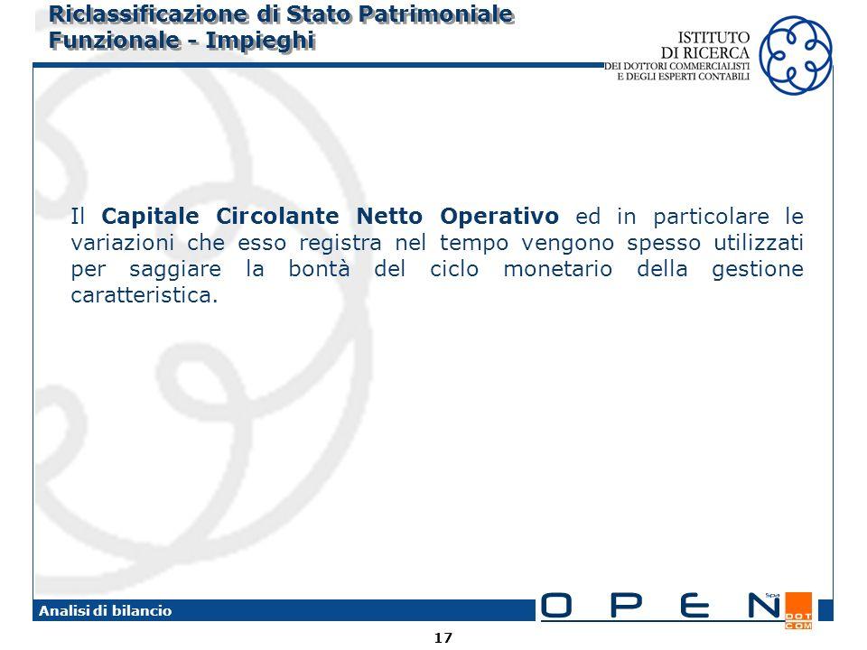 Riclassificazione di Stato Patrimoniale Funzionale - Impieghi