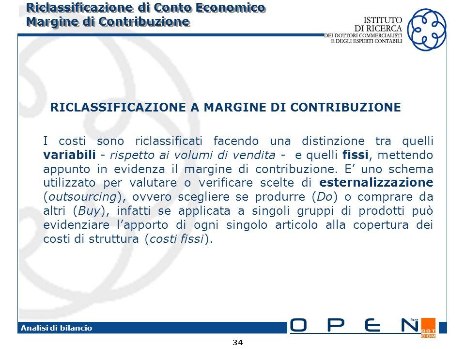 Riclassificazione di Conto Economico Margine di Contribuzione