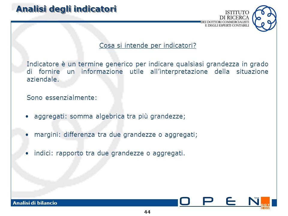 Analisi degli indicatori
