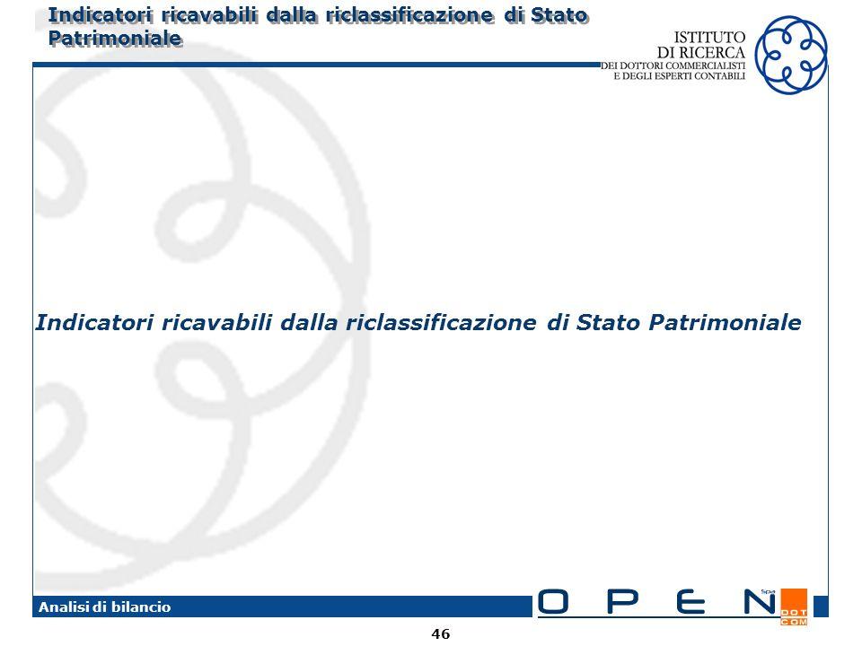 Indicatori ricavabili dalla riclassificazione di Stato Patrimoniale