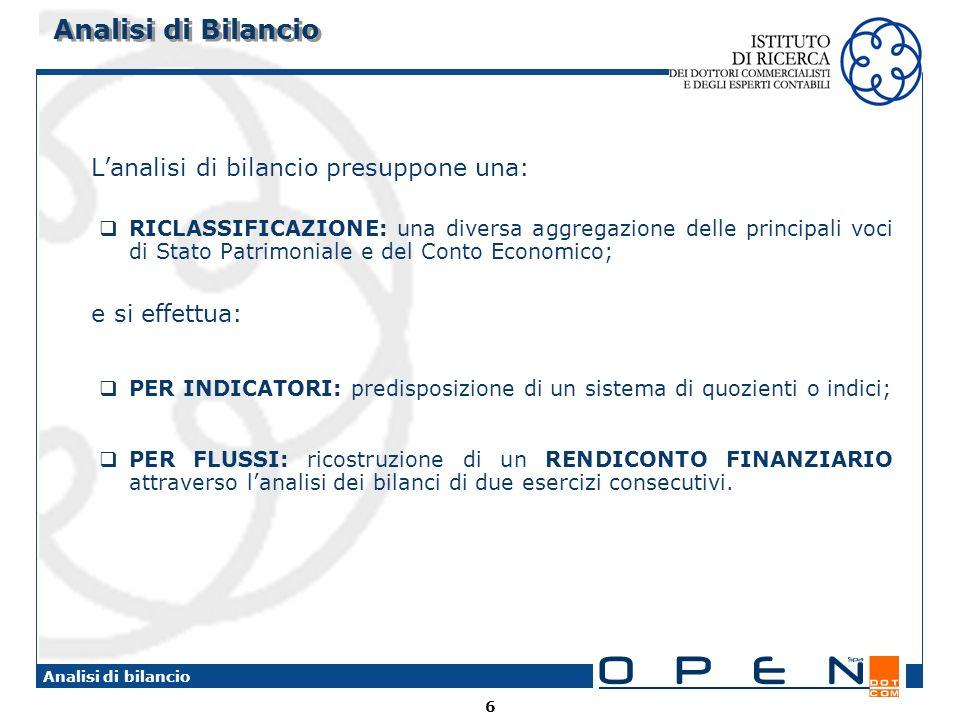 Analisi di Bilancio L'analisi di bilancio presuppone una: