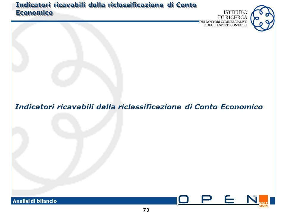 Indicatori ricavabili dalla riclassificazione di Conto Economico