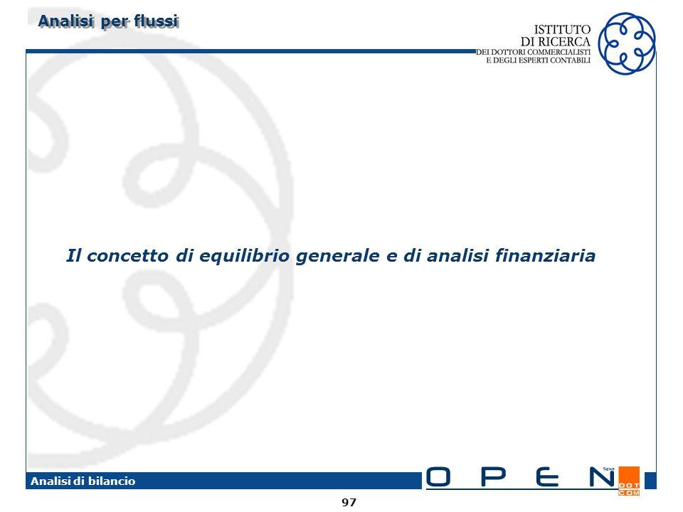 Il concetto di equilibrio generale e di analisi finanziaria