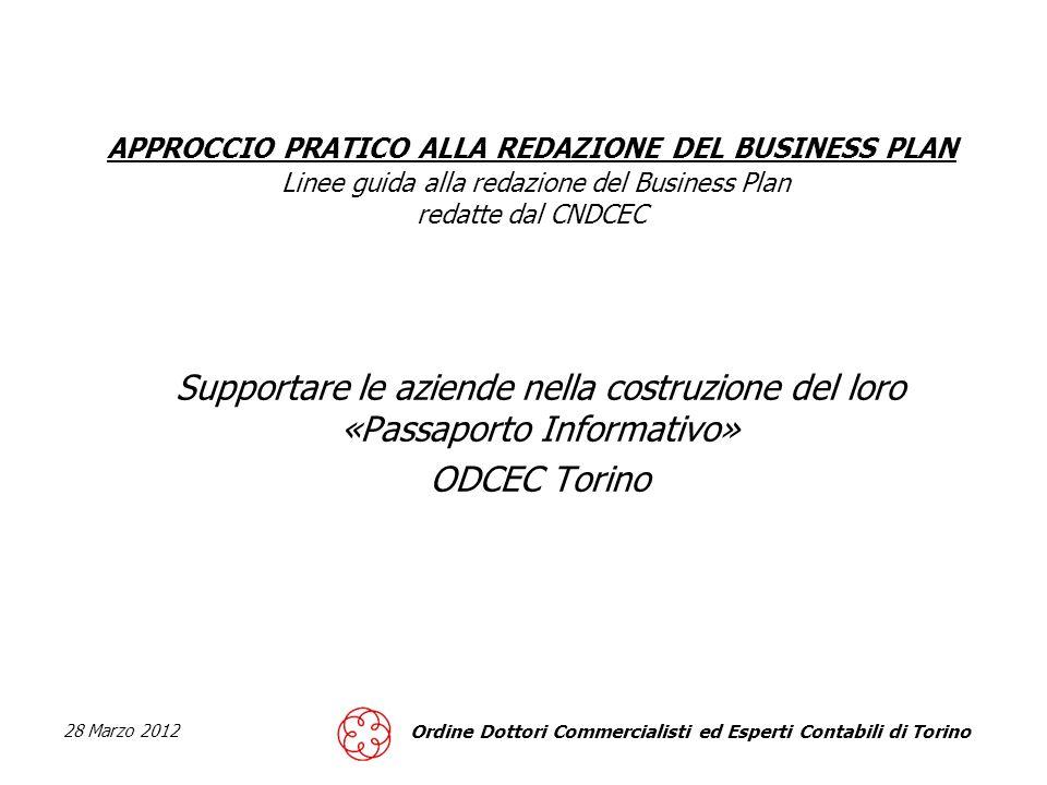 APPROCCIO PRATICO ALLA REDAZIONE DEL BUSINESS PLAN Linee guida alla redazione del Business Plan redatte dal CNDCEC