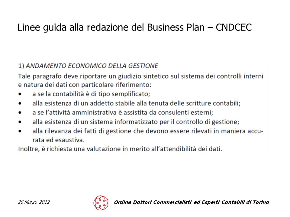 Linee guida alla redazione del Business Plan – CNDCEC