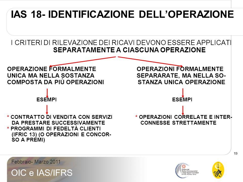 IAS 18- IDENTIFICAZIONE DELL'OPERAZIONE