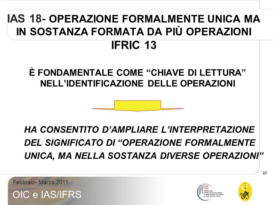 IAS 18- OPERAZIONE FORMALMENTE UNICA MA IN SOSTANZA FORMATA DA PIÙ OPERAZIONI IFRIC 13