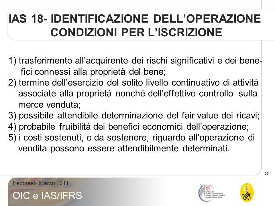 IAS 18- IDENTIFICAZIONE DELL'OPERAZIONE CONDIZIONI PER L'ISCRIZIONE