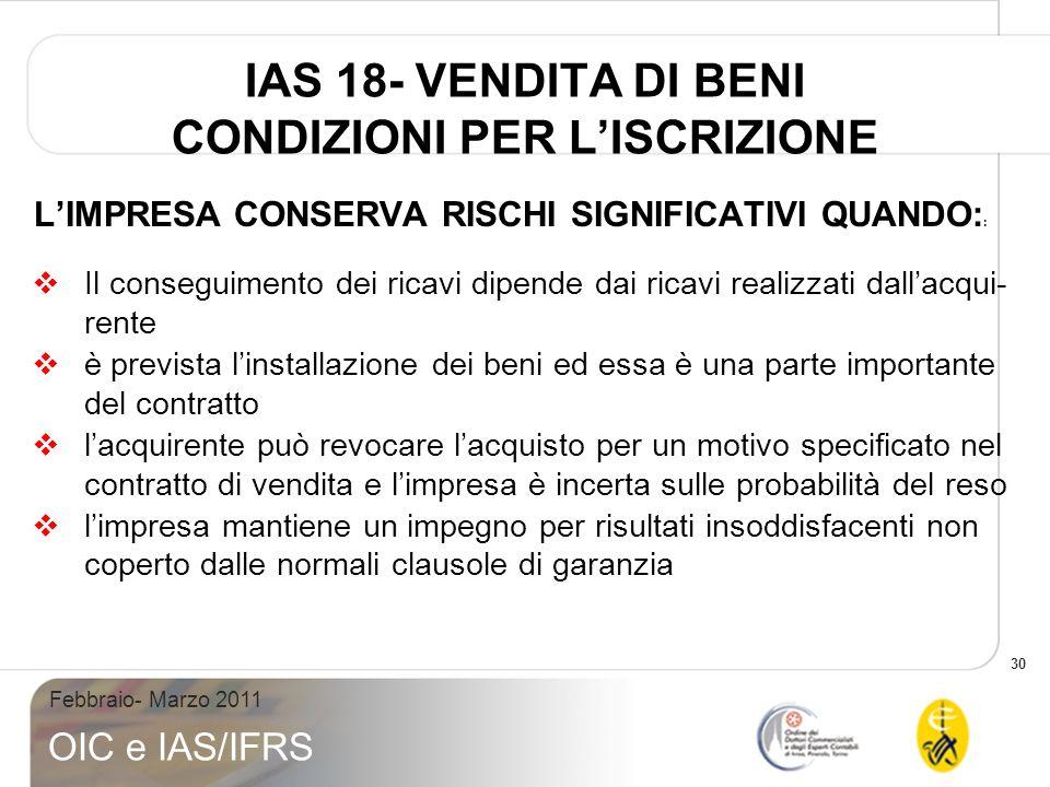 IAS 18- VENDITA DI BENI CONDIZIONI PER L'ISCRIZIONE