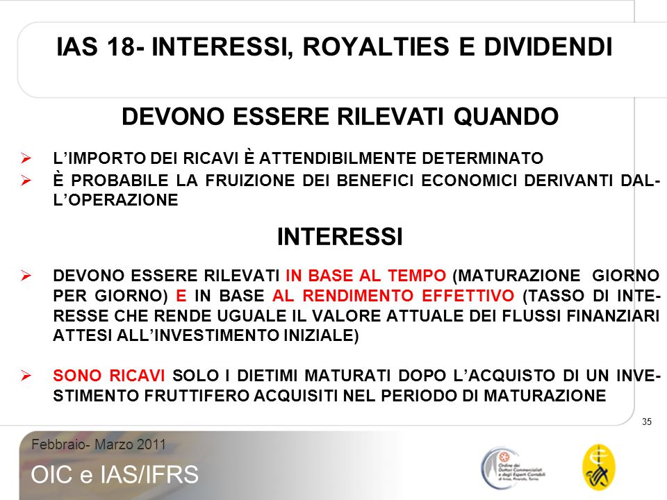 IAS 18- INTERESSI, ROYALTIES E DIVIDENDI