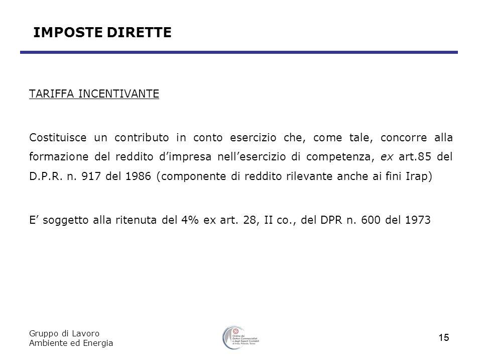 IMPOSTE DIRETTE TARIFFA INCENTIVANTE