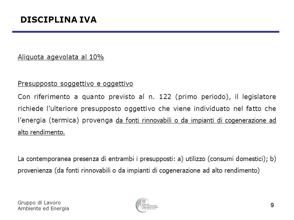 DISCIPLINA IVA Aliquota agevolata al 10%