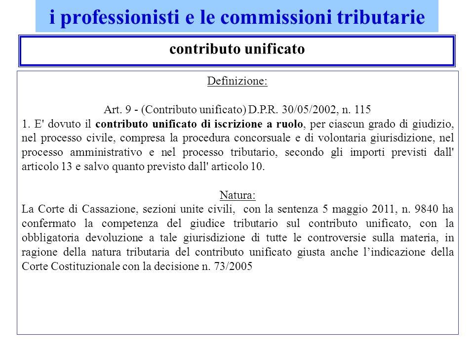 i professionisti e le commissioni tributarie