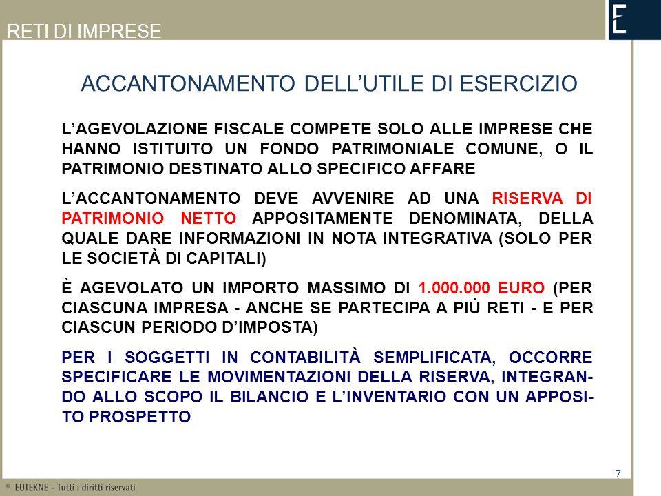 ACCANTONAMENTO DELL'UTILE DI ESERCIZIO