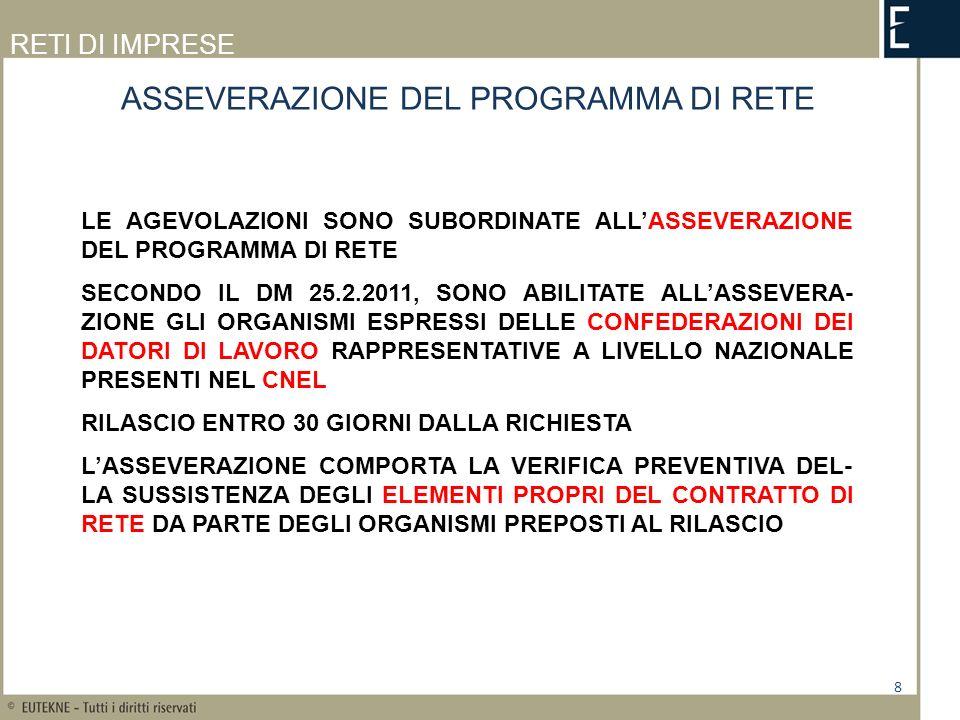 ASSEVERAZIONE DEL PROGRAMMA DI RETE