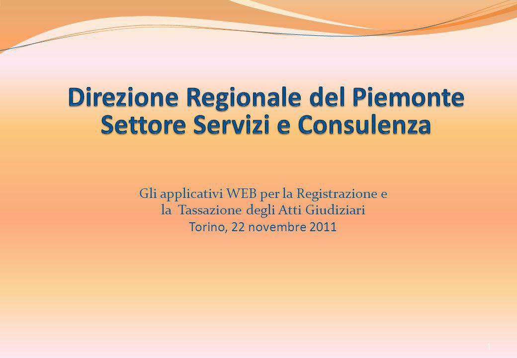 Direzione Regionale del Piemonte Settore Servizi e Consulenza