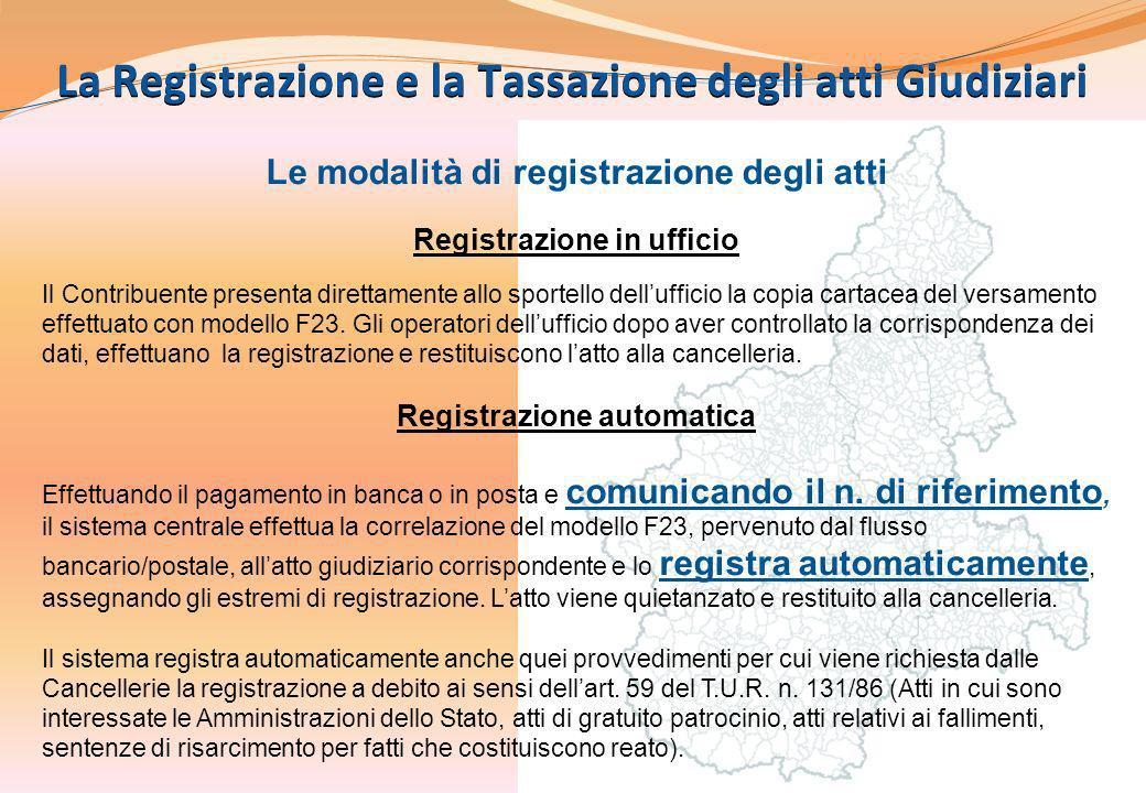 La Registrazione e la Tassazione degli atti Giudiziari
