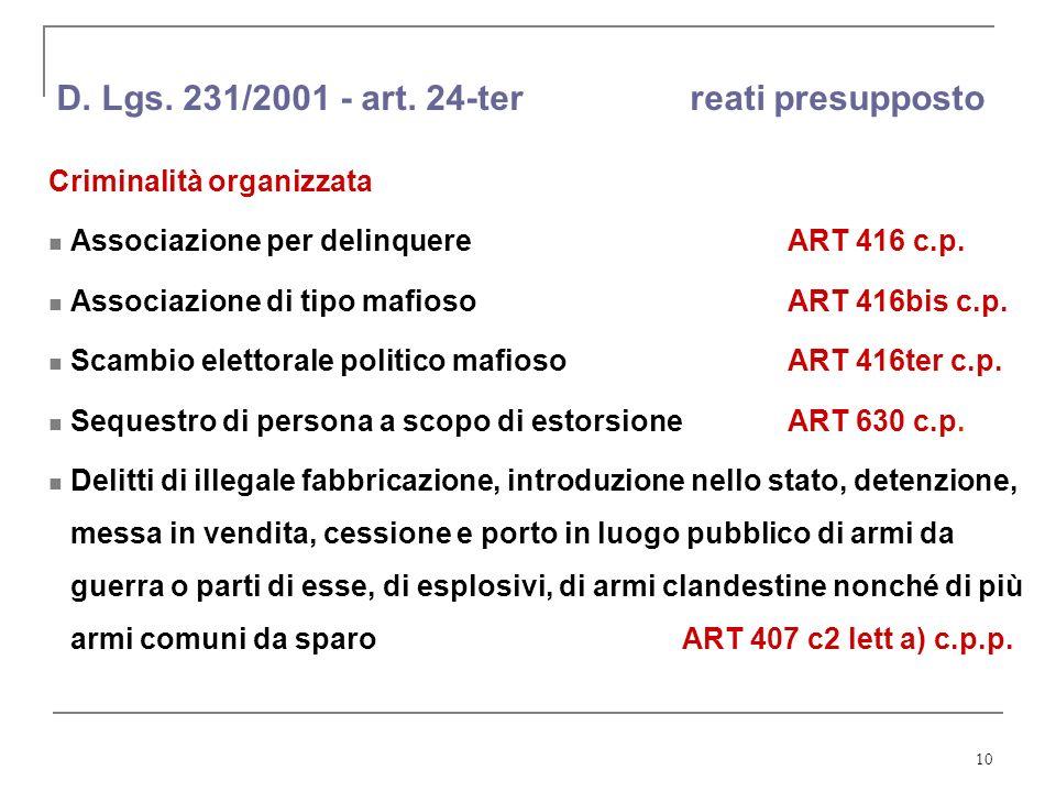 D. Lgs. 231/2001 - art. 24-ter reati presupposto