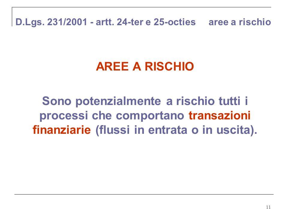 D.Lgs. 231/2001 - artt. 24-ter e 25-octies aree a rischio