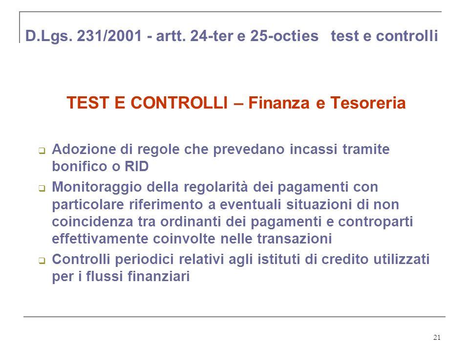 D.Lgs. 231/2001 - artt. 24-ter e 25-octies test e controlli