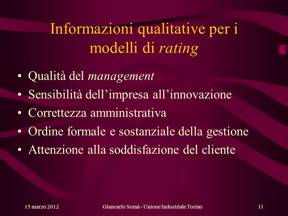 Informazioni qualitative per i modelli di rating